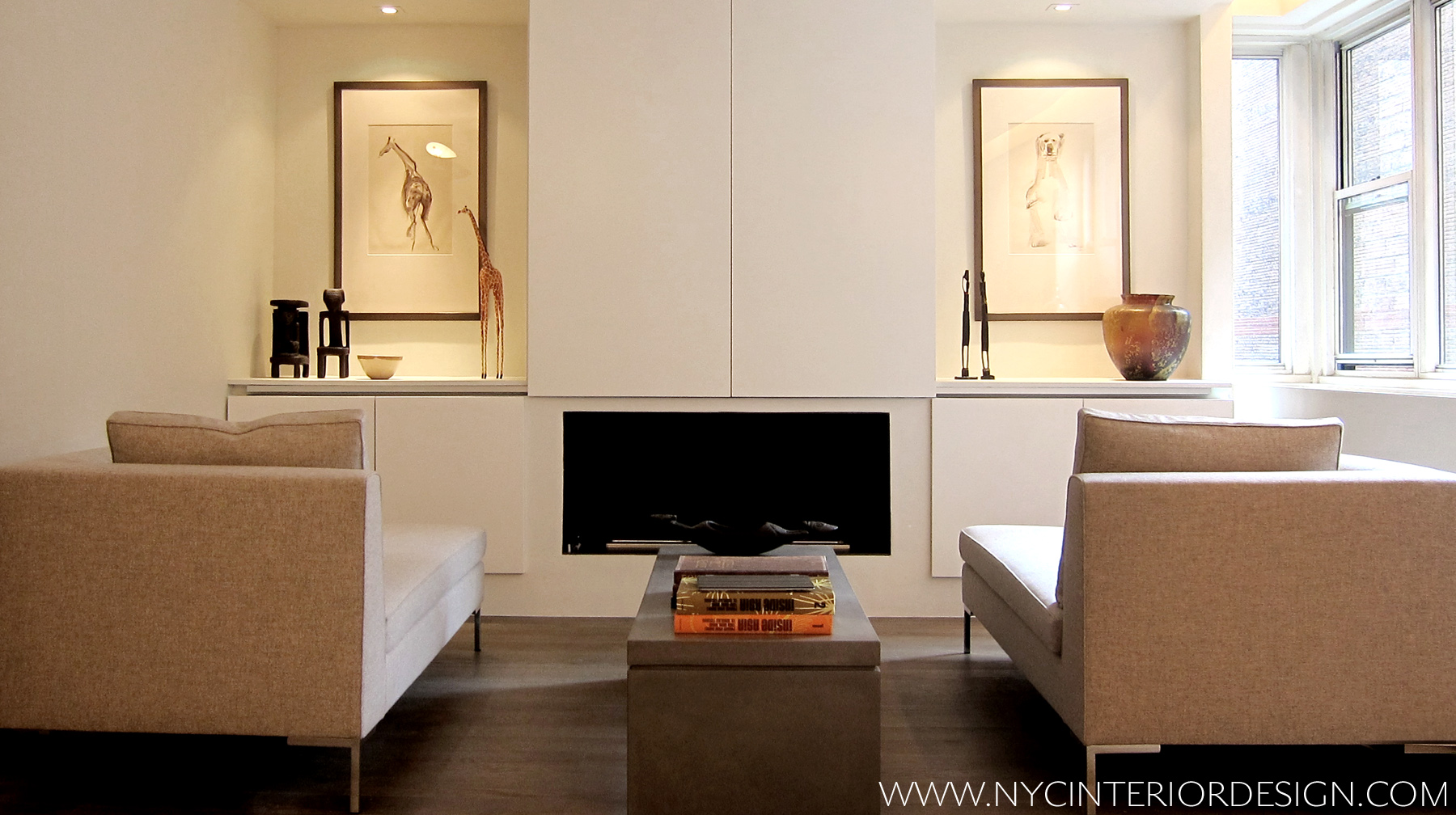 Icicle White Built In Wall Unit And Fireplace Surround