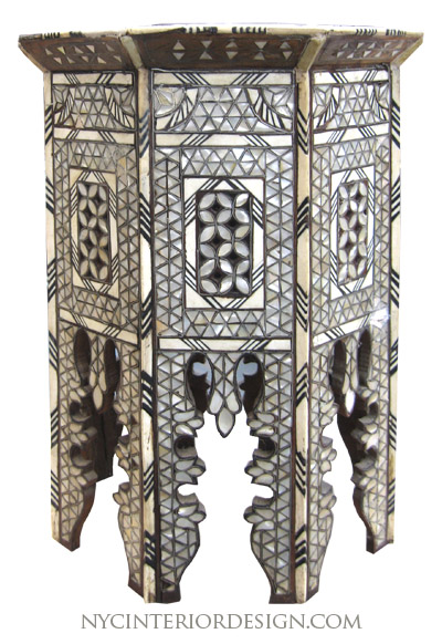Black Amp Bone Inlay Moroccan Table Nyc Interior Design
