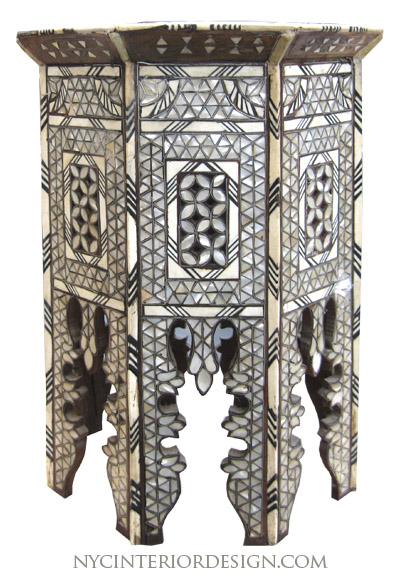 Black u0026 Bone inlay moroccan table - NYC Interior Design