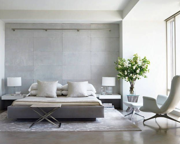 Modern gray bedroom nyc interior design for Amy bradford elle decoration
